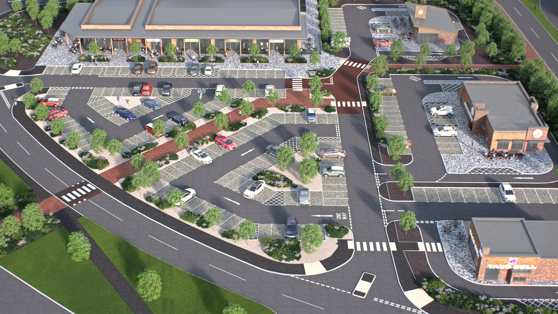 DCS Taco Bell, Burger King and Dunkin Donuts at Herten Triangle Doncaster Lakeside 3D