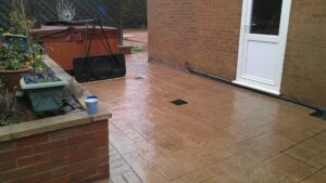 Printed Concrete Patio in Biscuit Ashlar