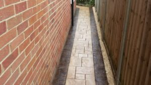 Printed Concrete Pathway to Garden in Ashlar Slate with Stained Borders