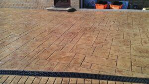 Ashlar Slate, Biscuit Colour Printed Concrete Driveway