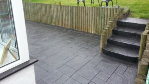 Printed Concrete Patio in Charcoal Ashlar Slate