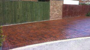 Deep Red Ashlar Slate Printed Concrete Driveway