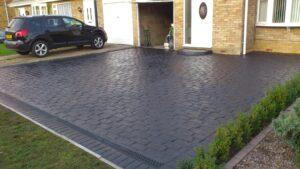 Charcoal Belgian Block Printed Concrete Driveway