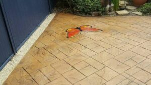Printed Concrete Patio with Butterfly Feature