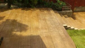 Printed Concrete Patio and Steps in Pacific Boardwalk Wood Effect
