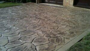 Biscuit Split Rubble Stone Printed Concrete Driveway