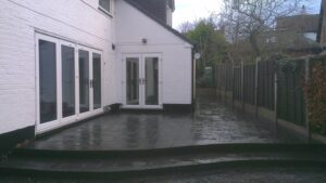 Printed Concrete Patio Area With Steps