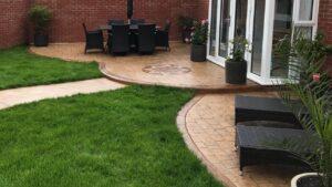 DCS Printed Concrete Split Level Patios in Grand Ashlar and London Cobble