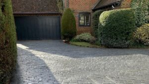 Platinum Grey Belgium Block Printed Concrete Driveway in Beenham