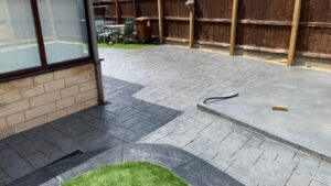 Printed Concrete Split Level Patio and Shed Base