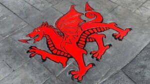 Printed Concrete Red Welsh Dragon Custom Patio Feature Created by DCS