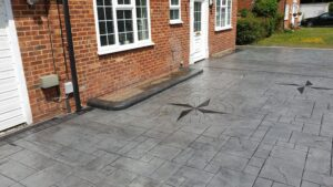 Printed Concrete Driveway with Compass Feature